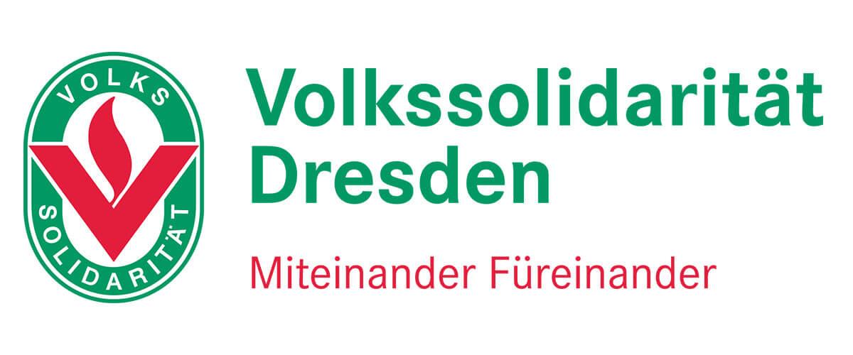 Logo der Volkssolidarität Dresden, grün-rot