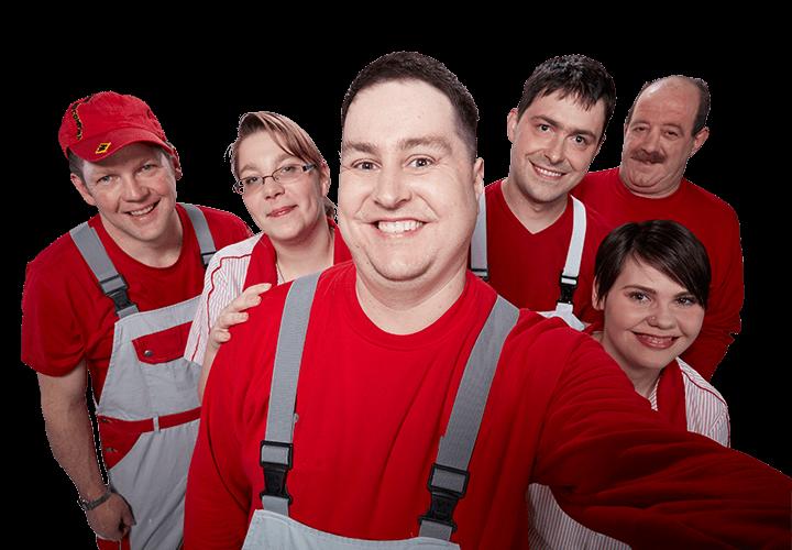 Selfie: Gruppe von 2 Frauen und 4 Männern in grau-roter Arbeitskleidung