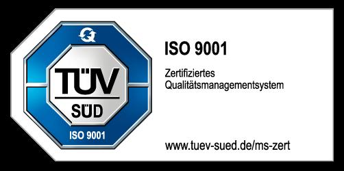 ein blaues Achteck mit einem weißen Kern, auf dem TÜV-SÜD steht. Im blauen Rand steht weiß: ISO 9001