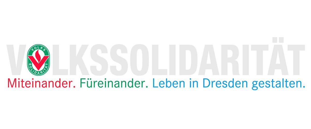 ein Logo auf dem steht: Volkssolidarittät. Leben in Dresden gestalten.